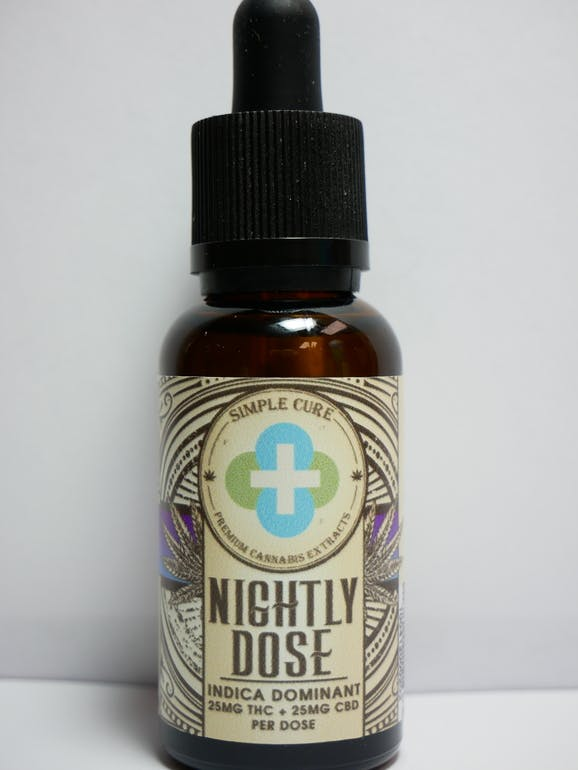 Simple Cure - Nightly Dose Indica Tincture - Bedtime Berry - 750mg THC + 750mg CBD