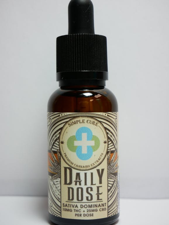 Simple Cure - Daily Dose Sativa Tincture - Helpful Mango - 300mg THC + 750mg CBD